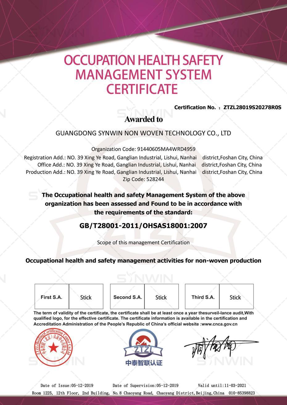 Lenzuolo non tessuto OHSAS18001