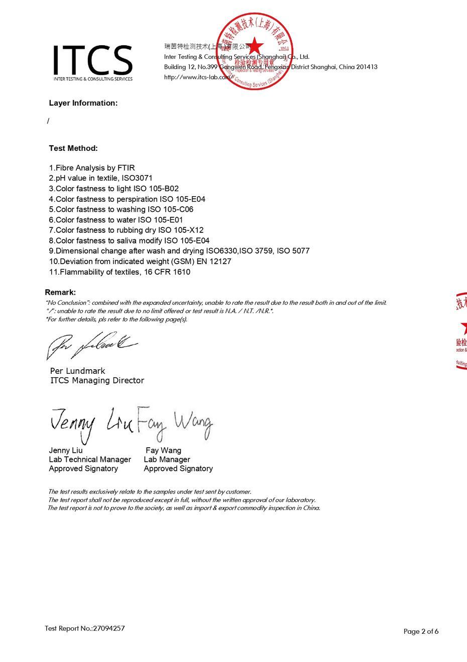 Certificato IKEA del produttore di tessuto non tessuto Synwin